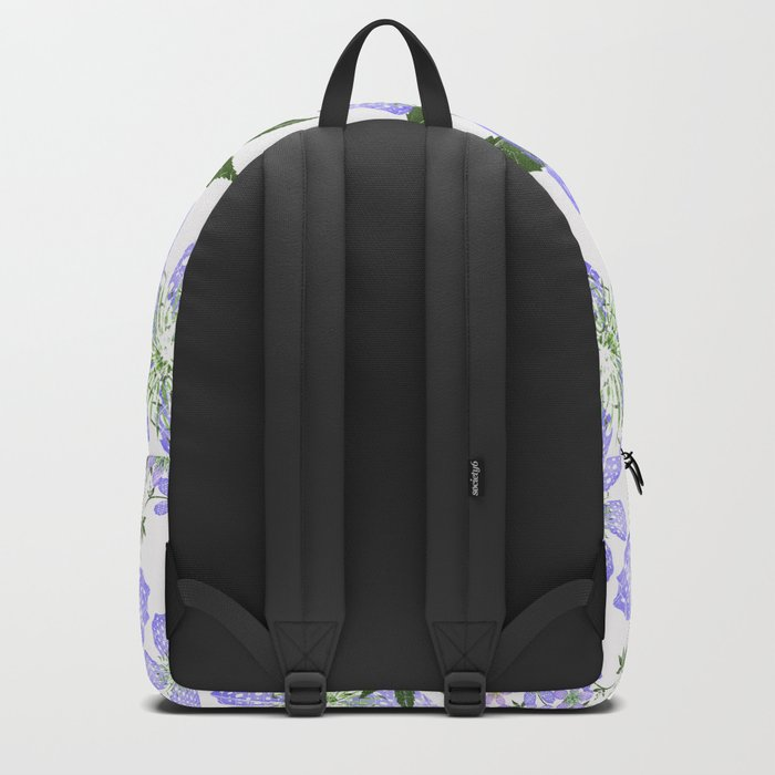 Delicate blue flowers on a white background. Backpack