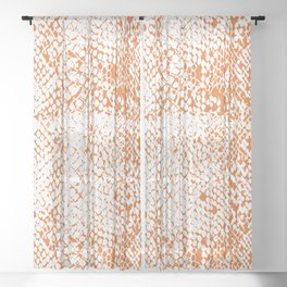 Snake Skin Russet Orange Sheer Curtain