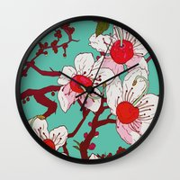 cherry blossoms Wall Clocks featuring Cherry Blossoms by minniemorrisart