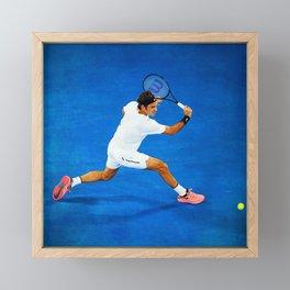 Roger Federer Sliced Backhand Framed Mini Art Print