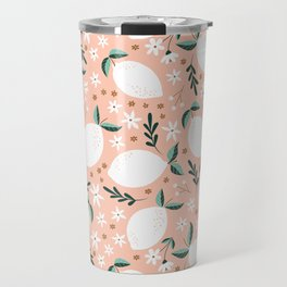 Summer Lemons on Pink Travel Mug
