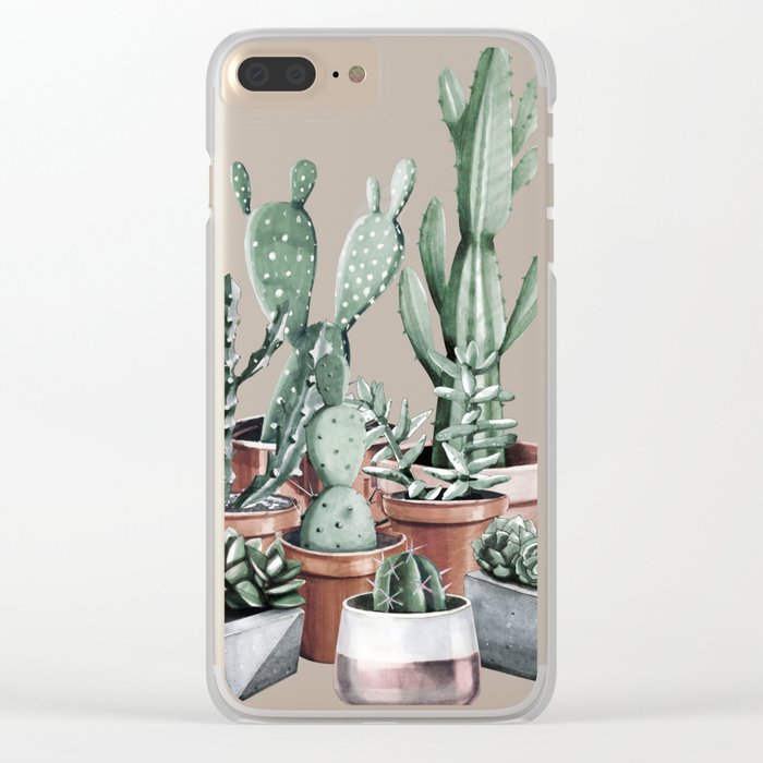 Potted Cacti + Succulents Rose Gold Clear iPhone Case