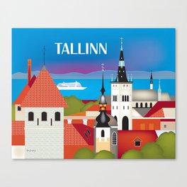 Tallinn, Estonia - Skyline Illustration by Loose Petals Canvas Print