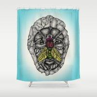 skulls Shower Curtains featuring skulls by Hanan Azran