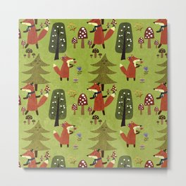 Happy foxes in the forest - Cute Fox Pattern Metal Print