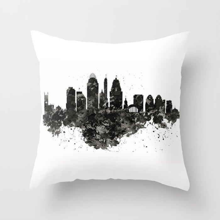 Cincinnati Skyline Black and White Deko-Kissen