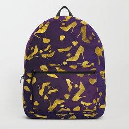 High Heels Gold shoe pattern Backpack