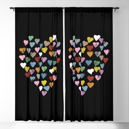 Distressed Hearts Heart Black Blackout Curtain