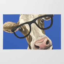 Cute Cow With Glasses, Blue Glasses Cow Rug