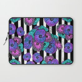 Florals over black and white stripes Laptop Sleeve