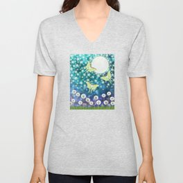 the moon, stars, luna moths, & dandelions Unisex V-Neck
