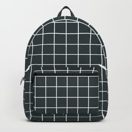 Outer space (Crayola) - grey color - White Lines Grid Pattern Backpack