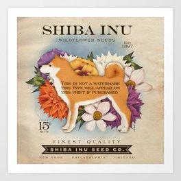 Shiba Inu Seed Company wildflower seed artwork by Stephen Fowler Art Print