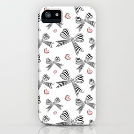 Pink bow heart iPhone Case