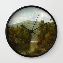 A View On Lake George 1876 By David Johnson | Reproduction | Romanticism Landscape Painter Wall Clock