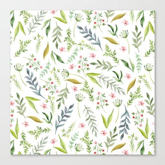 Leaf pattern. Watercolor Canvas Print