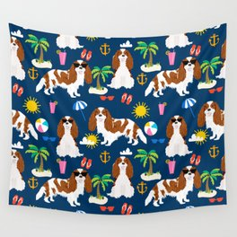 Cavalier King Charles Spaniel beach day tropical vacation socal sunshine Wall Tapestry