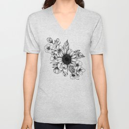 Bouquet of Flowers with Sunflower / Fall floral lineart Unisex V-Neck