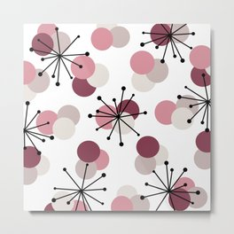 Atomic Age Molecules Starbursts Pink Metal Print
