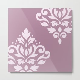 Scroll Damask Art I Pink on Mauve Metal Print