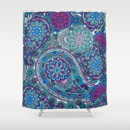 Paisley Patterns in Blues, Pinks, and Greens Shower Curtain