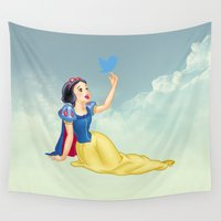 snow white Wall Tapestries featuring  Snow White by Tony Vazquez