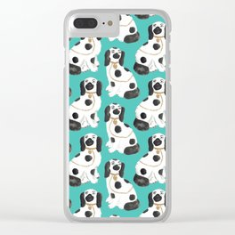 Staffordshire Dog Figurines No. 2 in Vivid Jade Clear iPhone Case