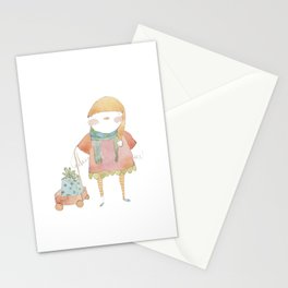 Bird Elf with a Gift Stationery Cards