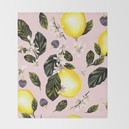 Citrus paradise. Tropical pattern with lemons Throw Blanket