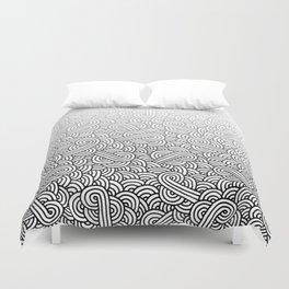 Gradient black and white swirls doodles Duvet Cover