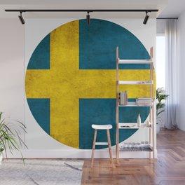 Sweden flag, circle Wall Mural