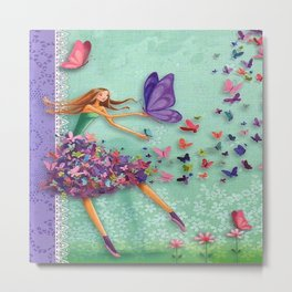 girl with butterfly skirt Metal Print