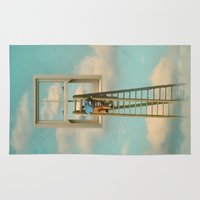 magritte Area & Throw Rugs featuring Window cleaner in the sky 02 by Vin Zzep