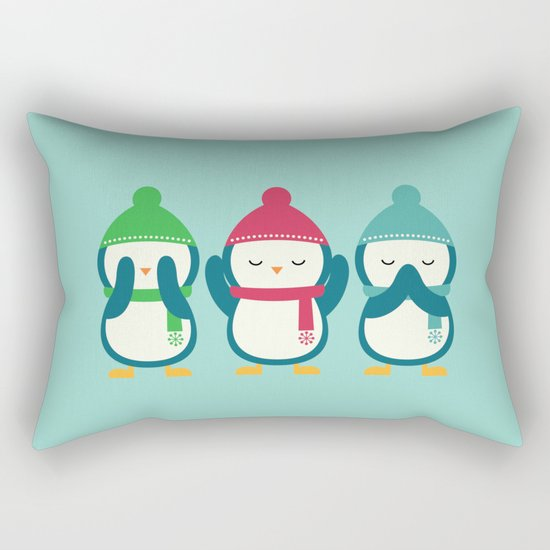 No Evil In Holiday Rectangular Pillow