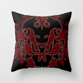 Killer Skull Red Throw Pillow