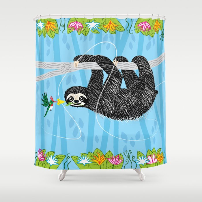 Great The Sloth And The Hummingbird Shower Curtain