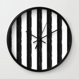 minimalist black painted stripes Wall Clock