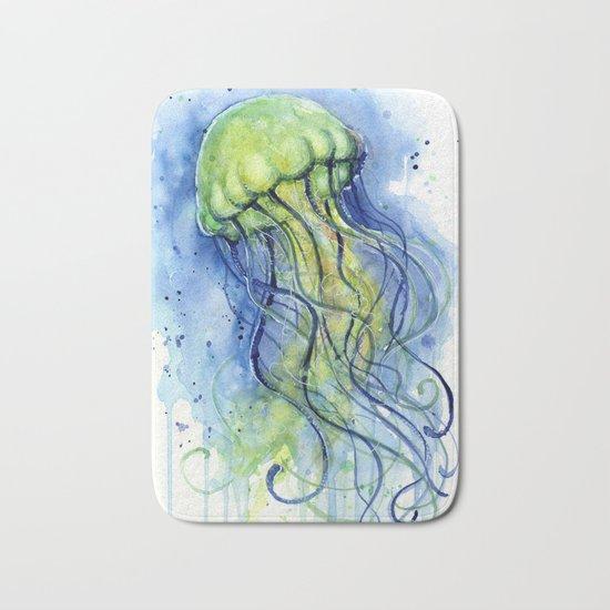 Jellyfish Watercolor Beautiful Sea Creatures Bath Mat