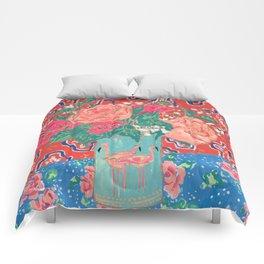 Roses in Enamel Flamingo Vase Comforters