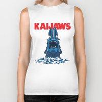pacific rim Biker Tanks featuring KaiJaws (Pacific Rim/Jaws) by Tabner's