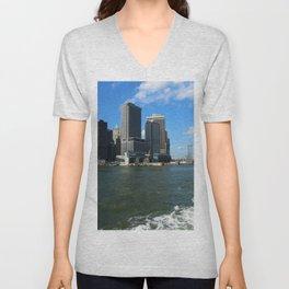 Manhattan Skyline From The Hudson River Unisex V-Neck