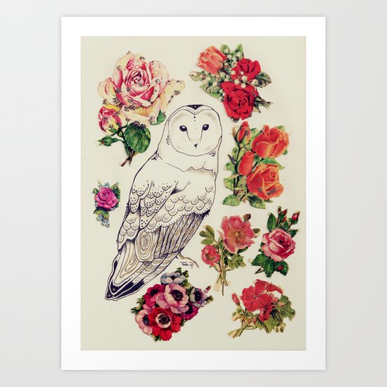 flower owl Art Print