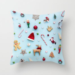 Collection of Christmas objects viewed from above Throw Pillow
