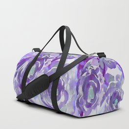 Purple Haze Painterly Floral Abstract Duffle Bag