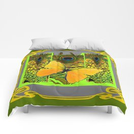 GREEN ART NOUVEAU BUTTERFLY PEACOCK PATTERNS Comforters