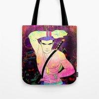 rave Tote Bags featuring Rave Samurai by Waffle Guru
