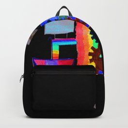 Colored fireworks machinery | Kids Painting by Elisavet Backpack
