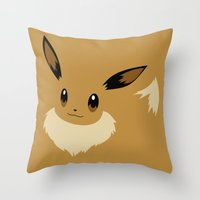 eevee Throw Pillows featuring Eevee PKMN by Rebekhaart