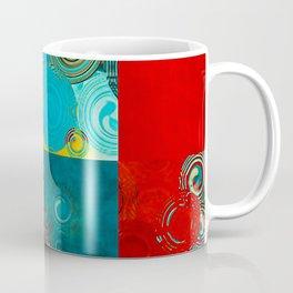 Teal and Red Swirls Coffee Mug