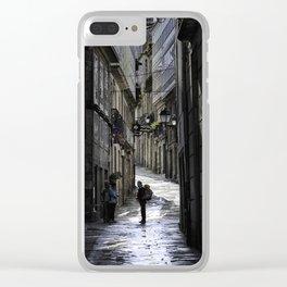 Pilgrim in Santiago de Compostela; after the walk Clear iPhone Case